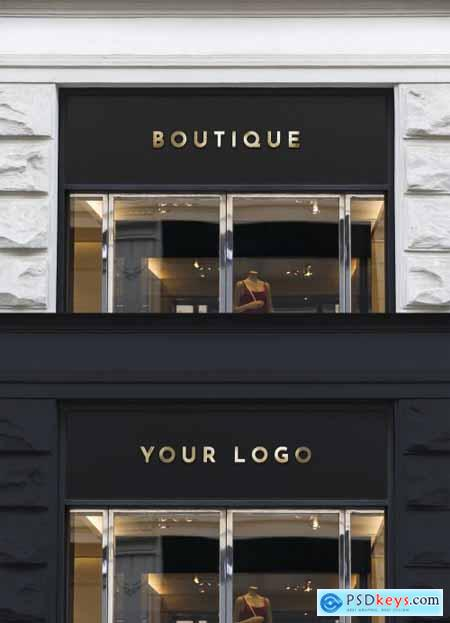 Wall Mounted Sign on Business Entrance Mockup 344298657