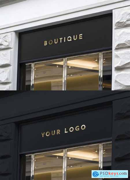 Wall Mounted Sign on Business Entrance Mockup 344298548