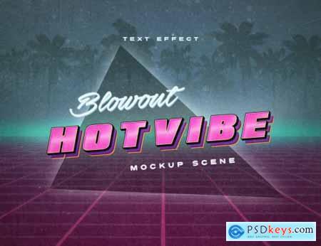 80S Retrowave Neon Text Effect Mockup 344586773