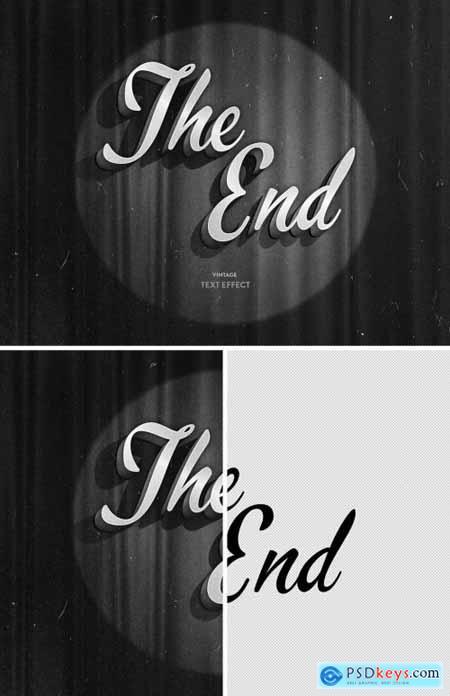 Vintage 3D Film Mono Chrome Title Text Effect Mockup 344587960