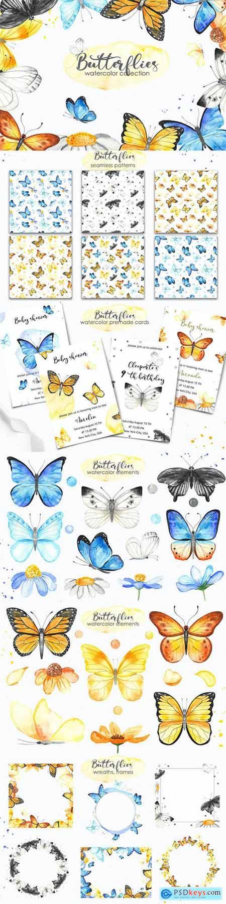 Watercolor Butterflies Clipart, cards, frames