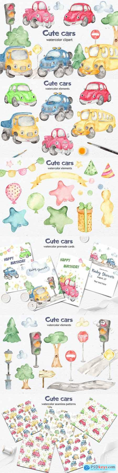 Watercolor cute Cars Clipart, cards, patterns