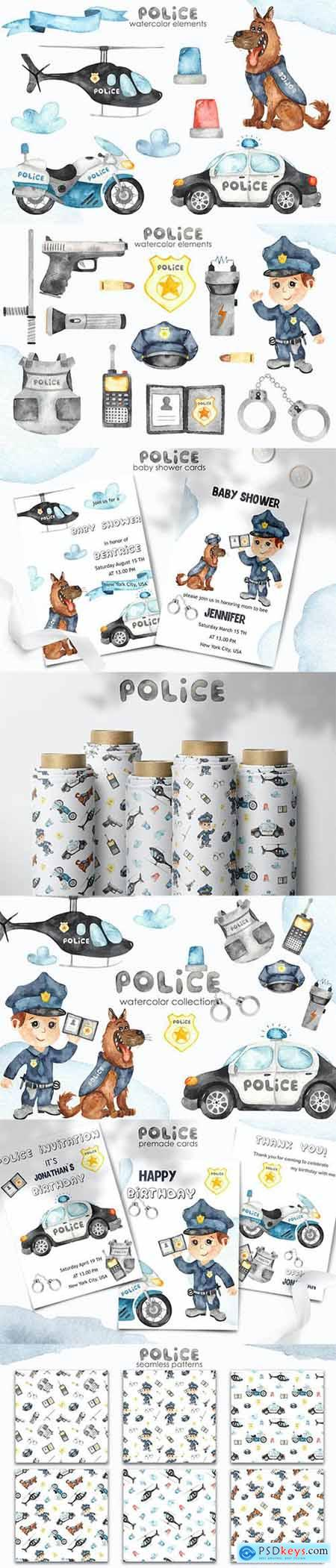 Watercolor Police Clipart, cards, patterns