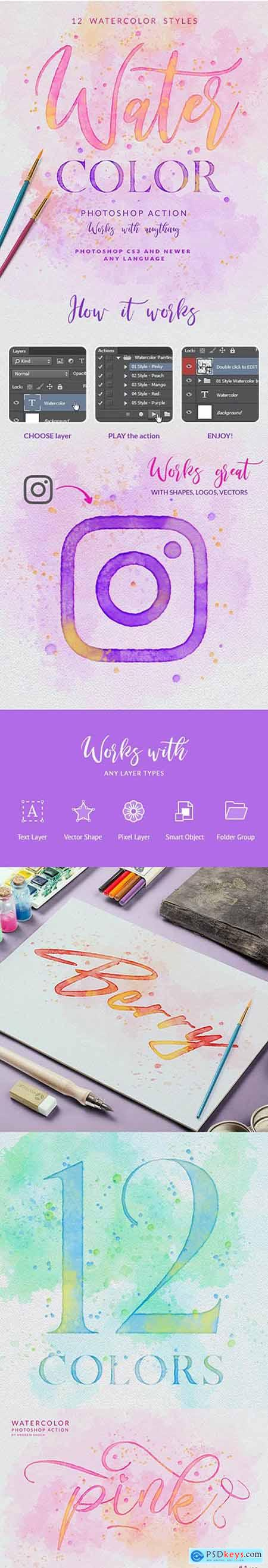Watercolor Painting - Photoshop Action 25787736