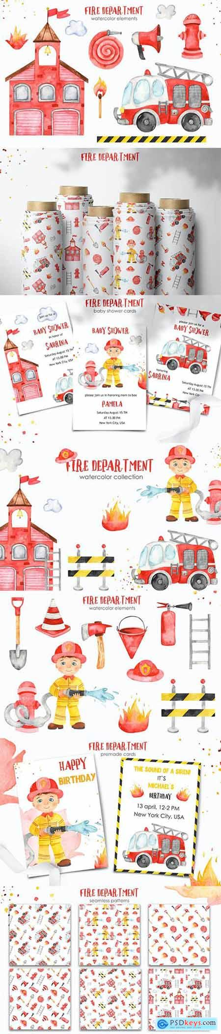 Watercolor Fire Department Clipart