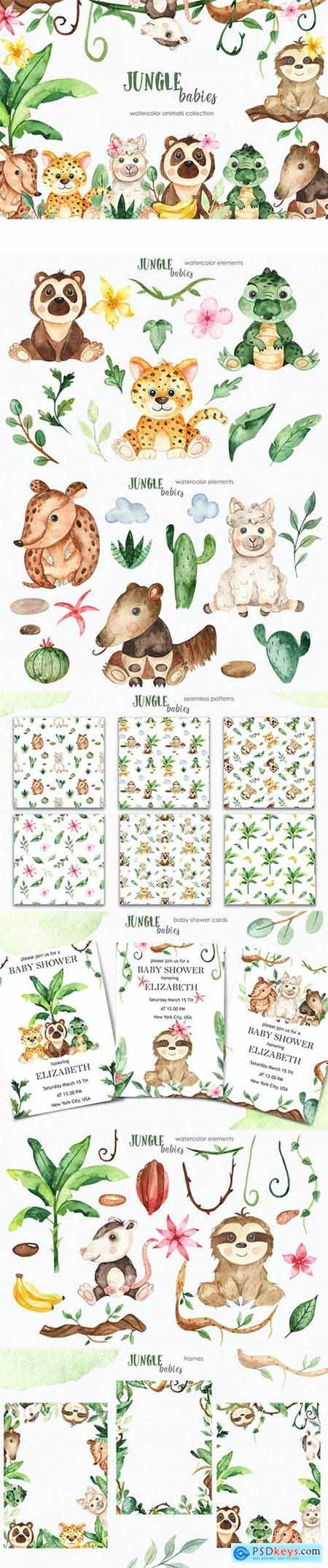 Watercolor jungle babies animals Clipart