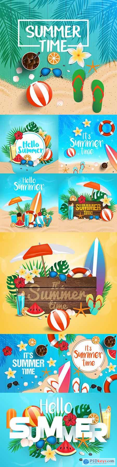 Hello summer holidays tropical background