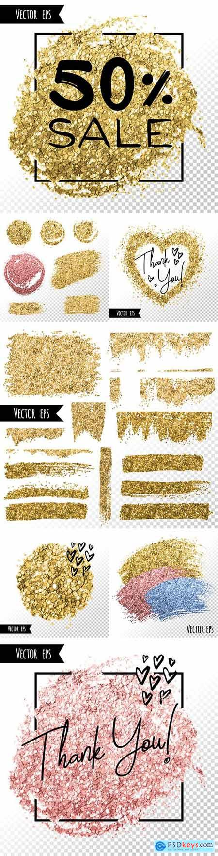 Gold foil gloss brush stroke and background template