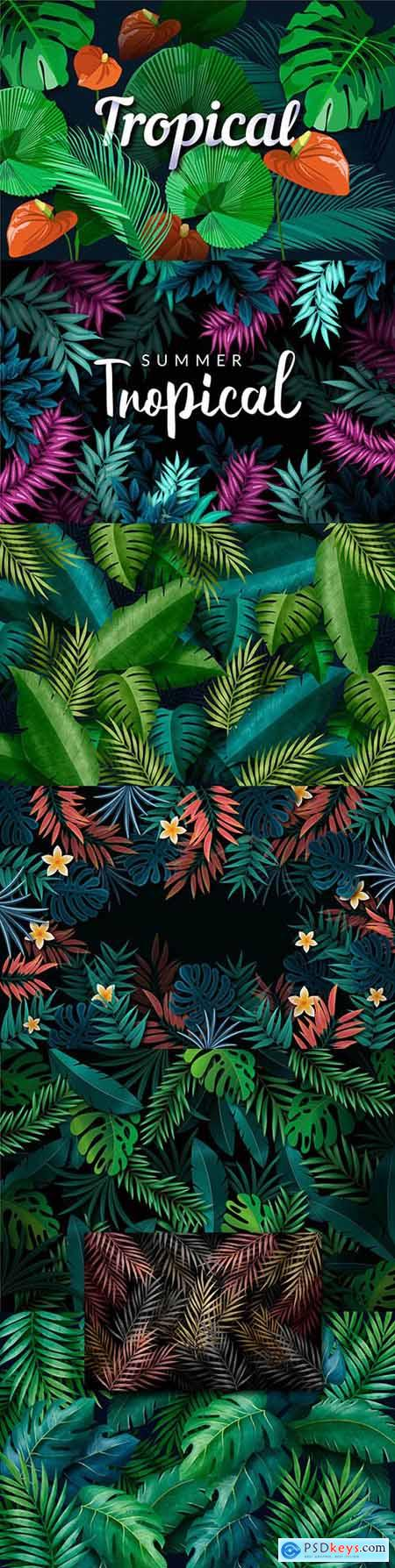 Tropical colored leaves with flowers and inscriptions