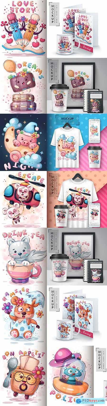 Funny illustration and merchandising mockup print t-shirt 14