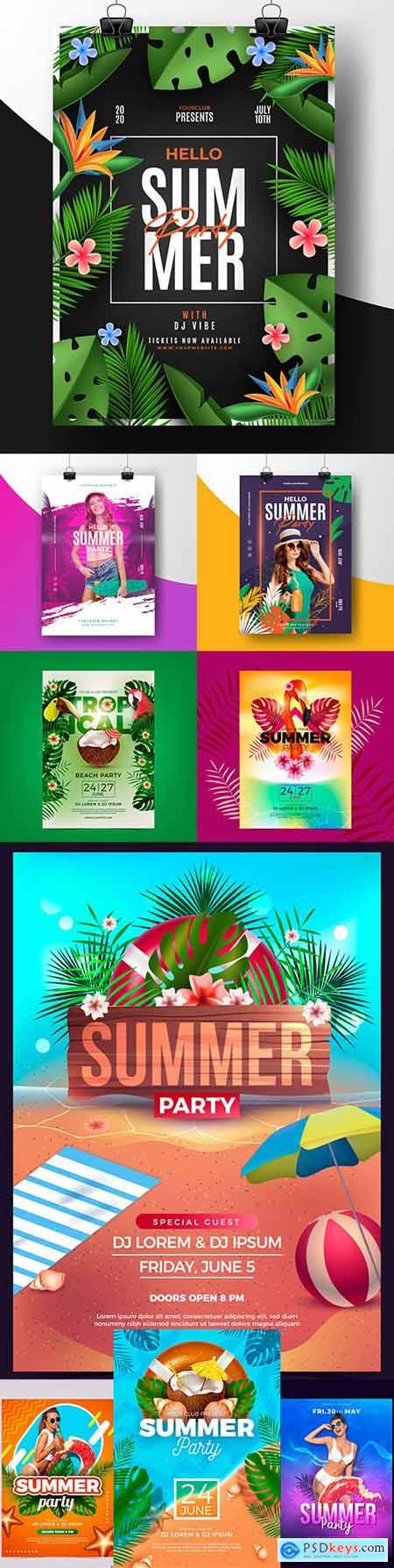 Summer tropical party with illustrations poster template
