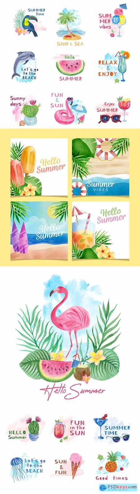 Hello summer watercolor design label and elements