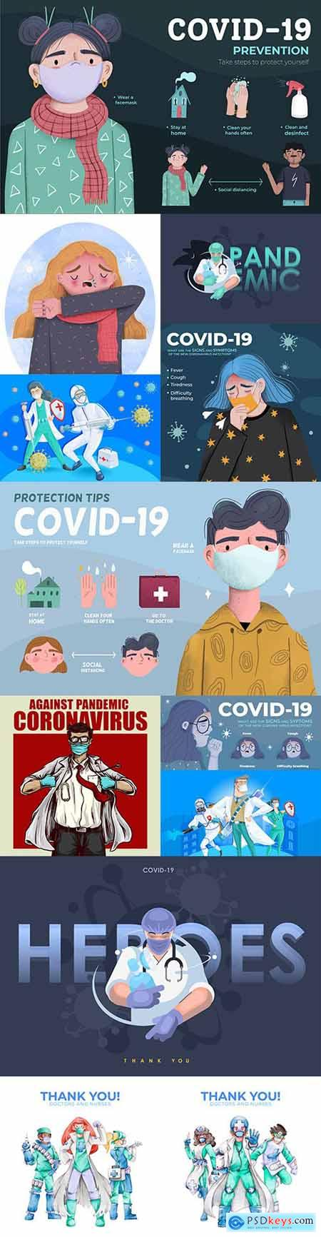 Prevention and protection against coronavirus collection of illustrations