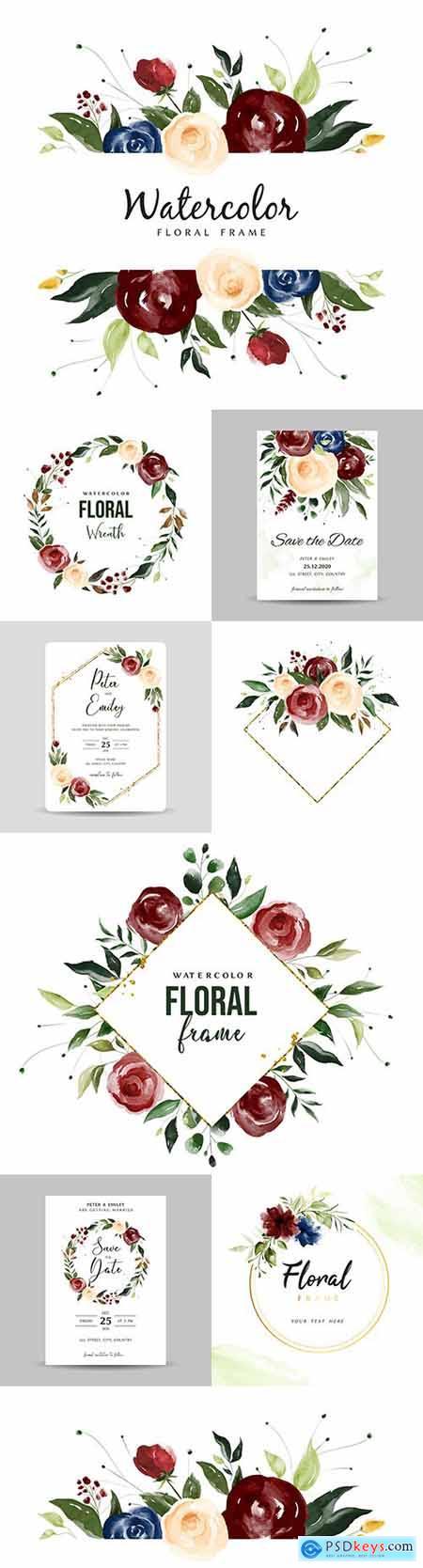 Watercolor flower frame for wedding invitation design