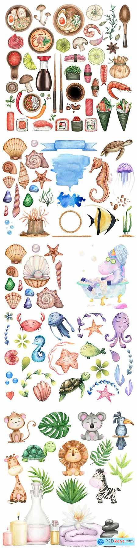 Tropical and marine animals with leaves watercolor set