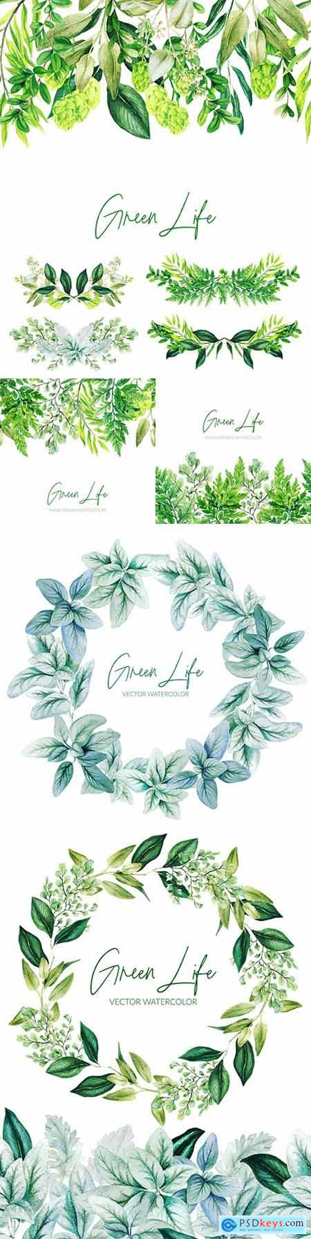 Watercolor green leaves and wreath of branches with leaves