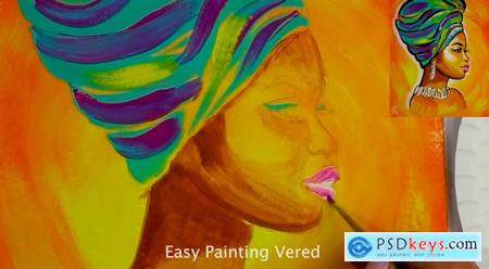 ACRYLIC PAINTING TUTORIAL- AFRICAN LADY - with a traceable to paint along