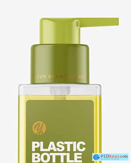 Square Clear Bottle with Pump Mockup 59014