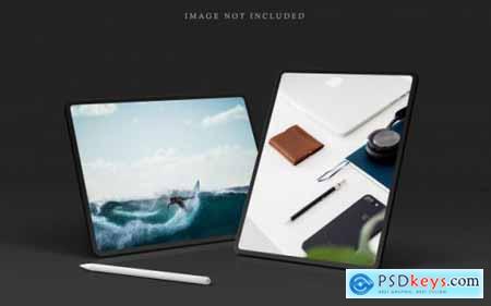 Tablet pro mockup scene creator with stylus pen