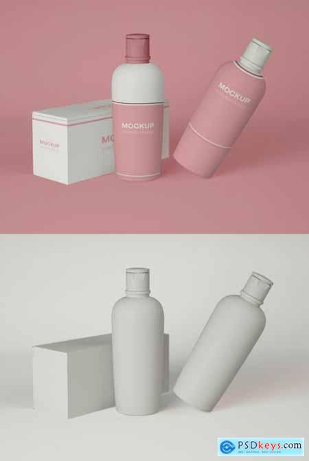 Two Cosmetic Bottles with Packaging Mockup 339308308