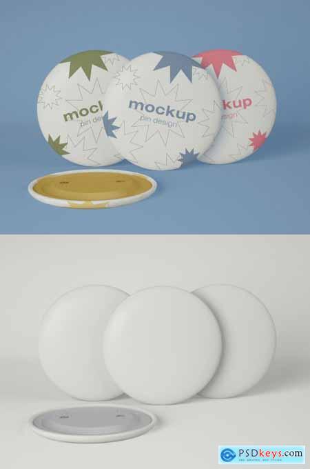 Three Circular Pins Mockup 339306902