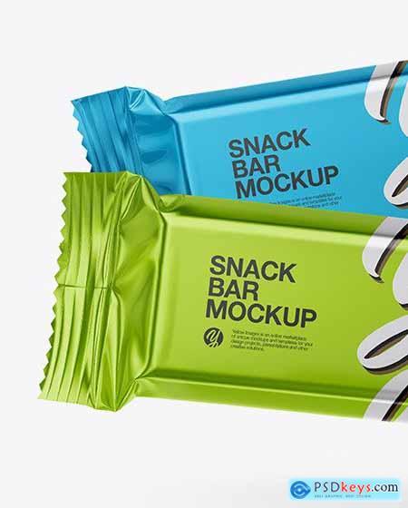 Two Metallic Snack Bars Mockup 58978