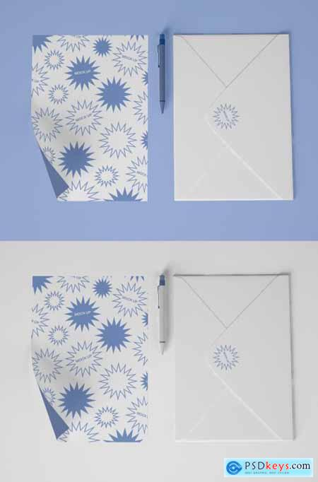 Stationery Mockup with Pen, Envelope and Postcard 339305992
