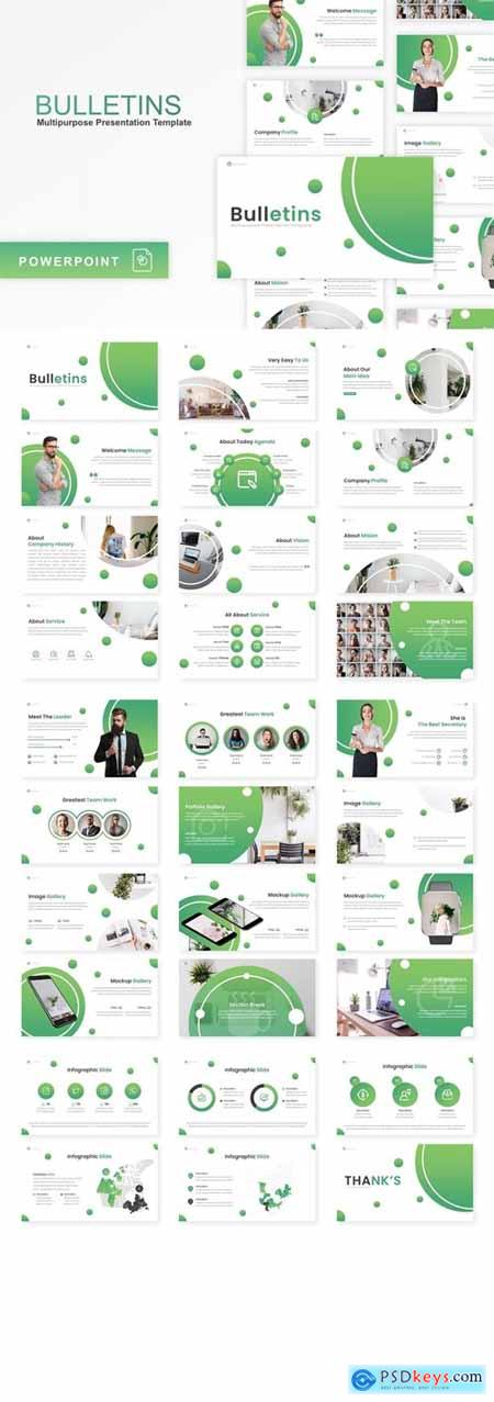 Bulletins - Multipurpose Powerpoint, Keynote and Google Slides Templates
