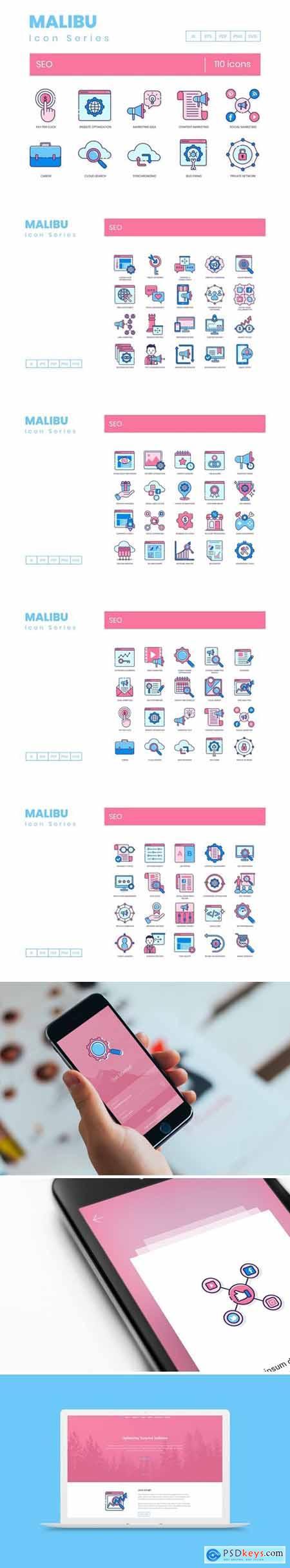 110 SEO Icons - Malibu Series