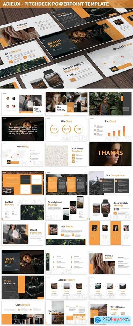 Adieux - Pitchdeck Powerpoint Template