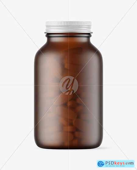 Frosted Amber Glass Pills Bottle Mockup 59011