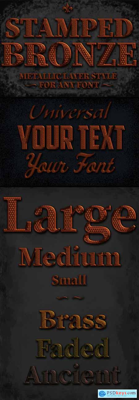 Bronze Stamped Text Style Mockup 344914362