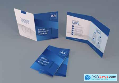 Realistic a4 bifold brochure paper mockup