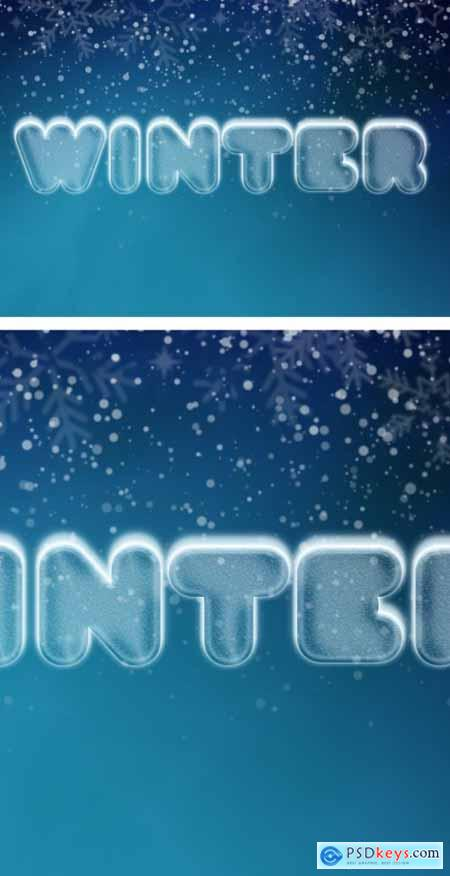 Winter and Snow Cool Ice Text Effect Mockup 344916846