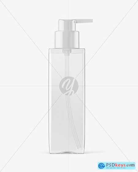 Square Clear Bottle with Pump Mockup 58983