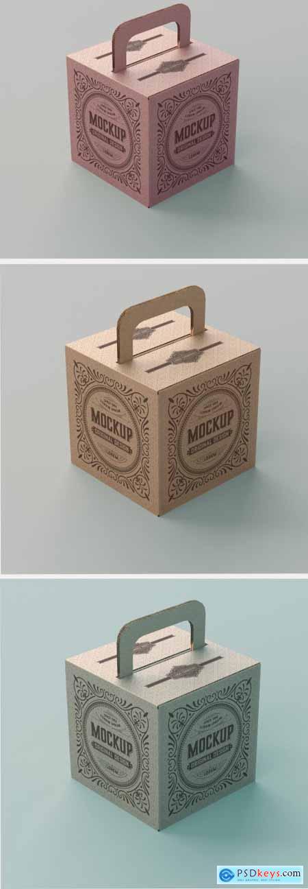 Kraft Box Mockup with Handle 345717734
