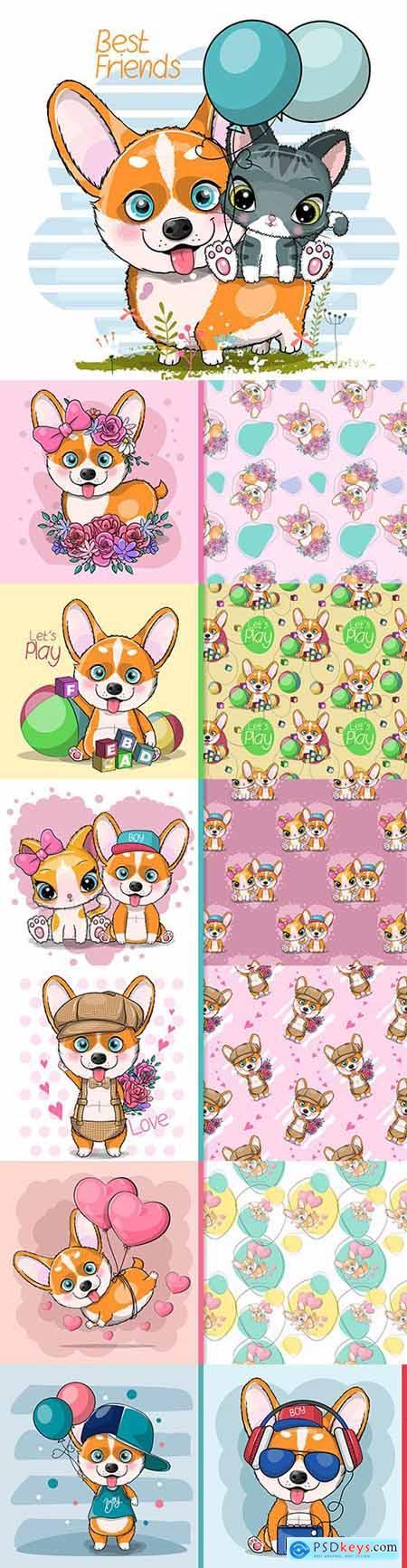Cute dog feed cartoon and seamless background