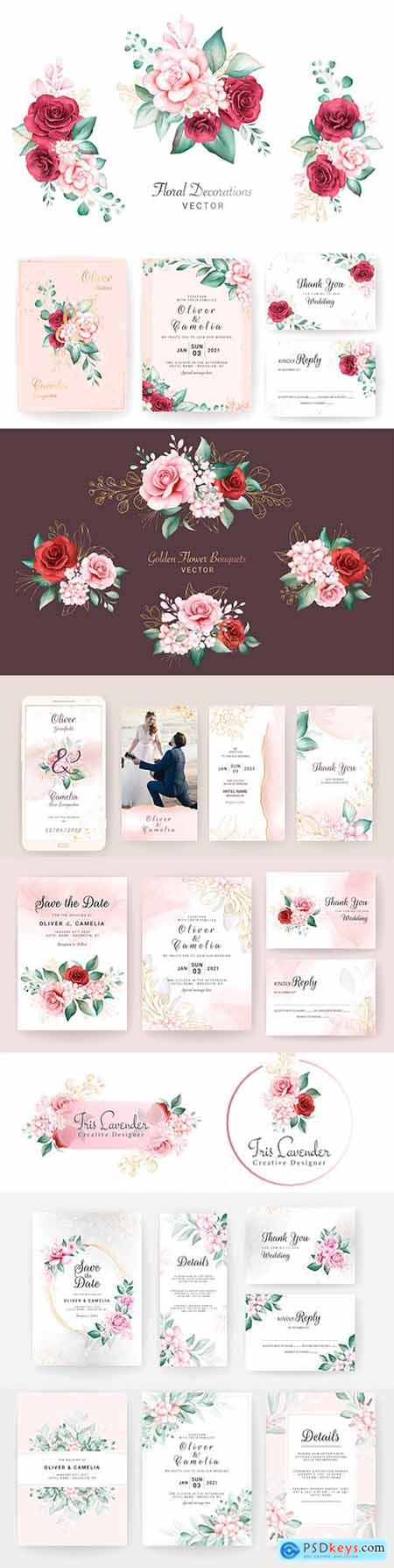 Watercolor bouquets wedding invitation and logo design