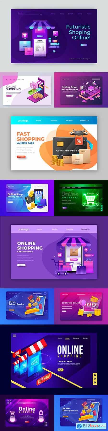 Online shopping realistic landing page design