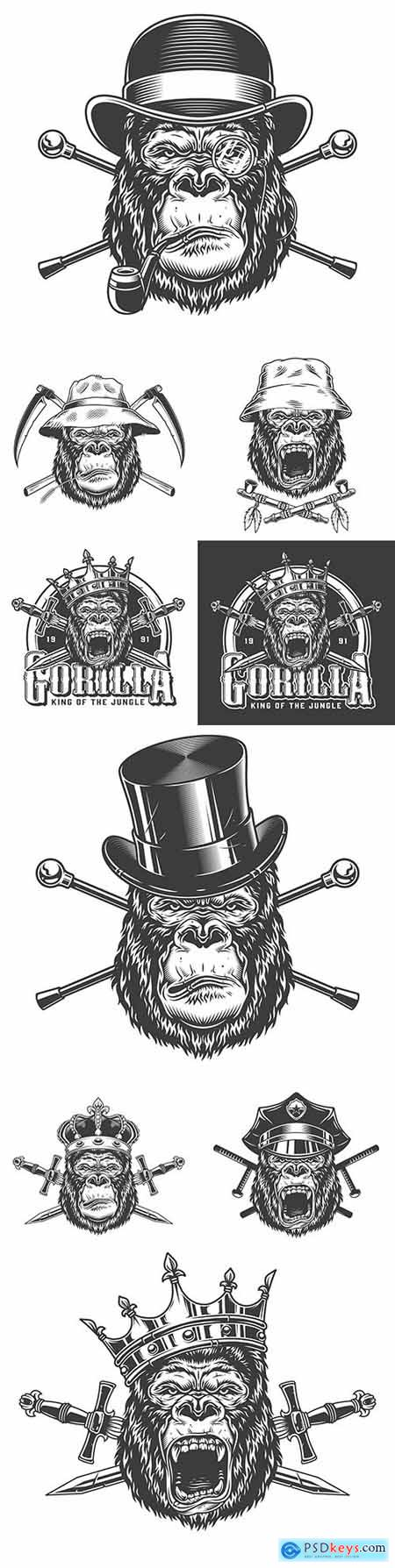 Head gorilla in hat with grunge objects design illustrations