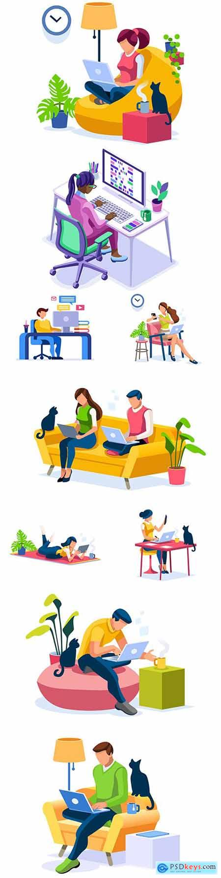 Stay at home people work at home design isometric illustrations