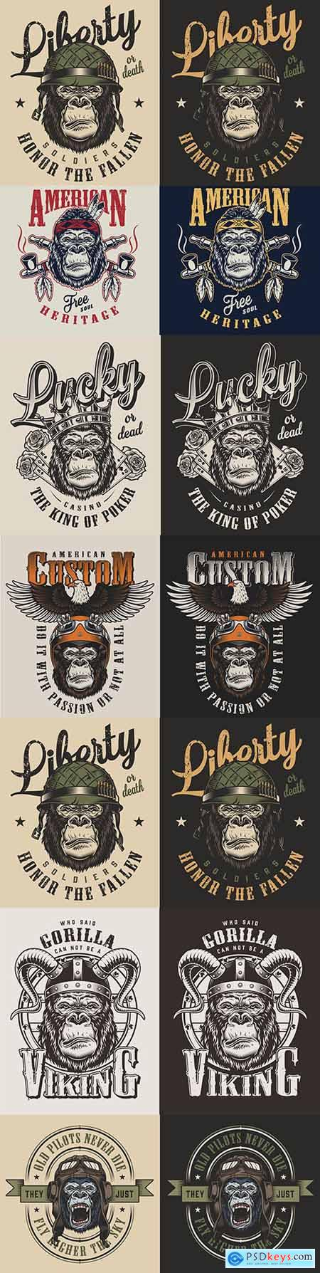 T-shirt with print gorilla vintage style design