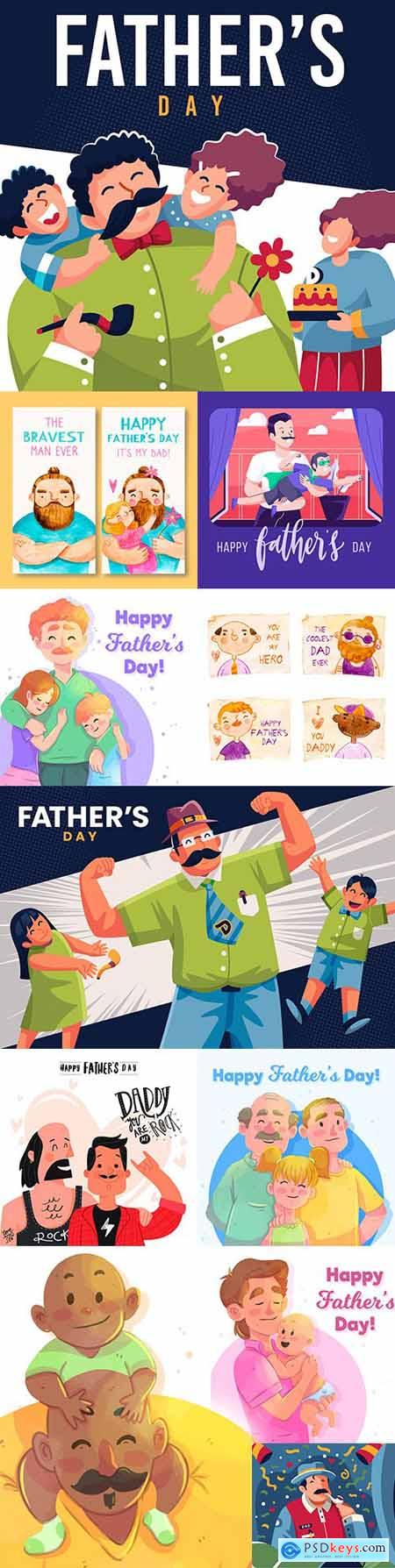 Happy Father s Day design greeting card and banner 2