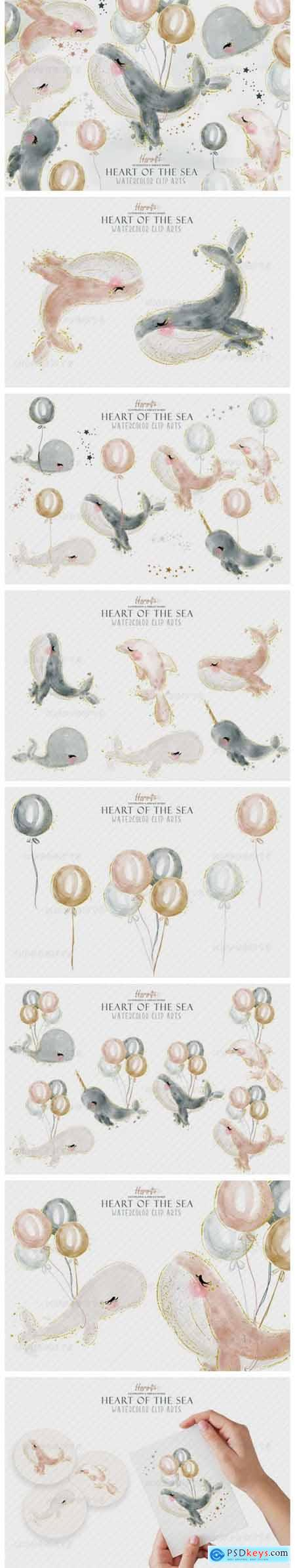 Watercolor Whale Cliparts 4033050