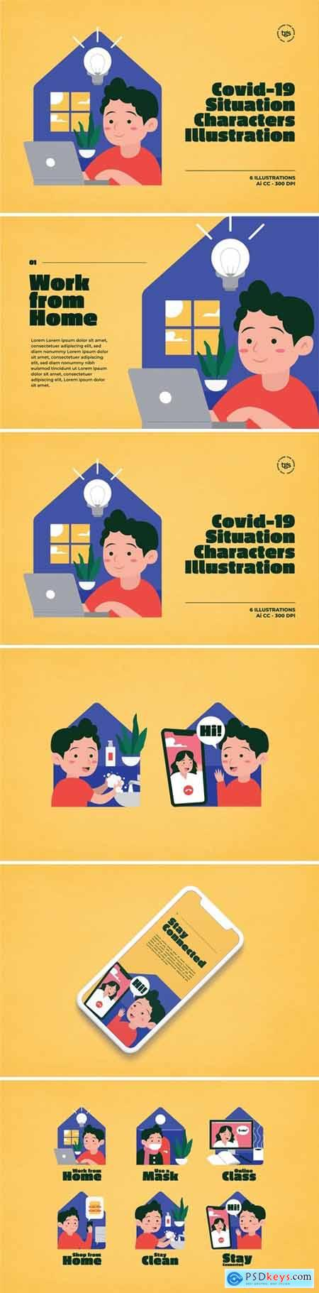 Covid-19 Situation Characters Illustration