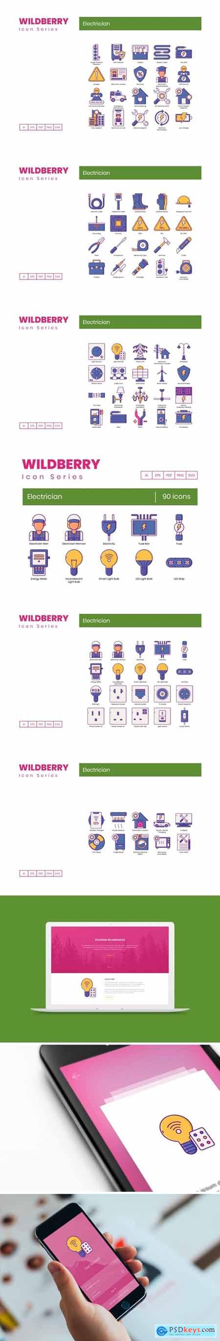 90 Electrician Icons - Wildberry Series