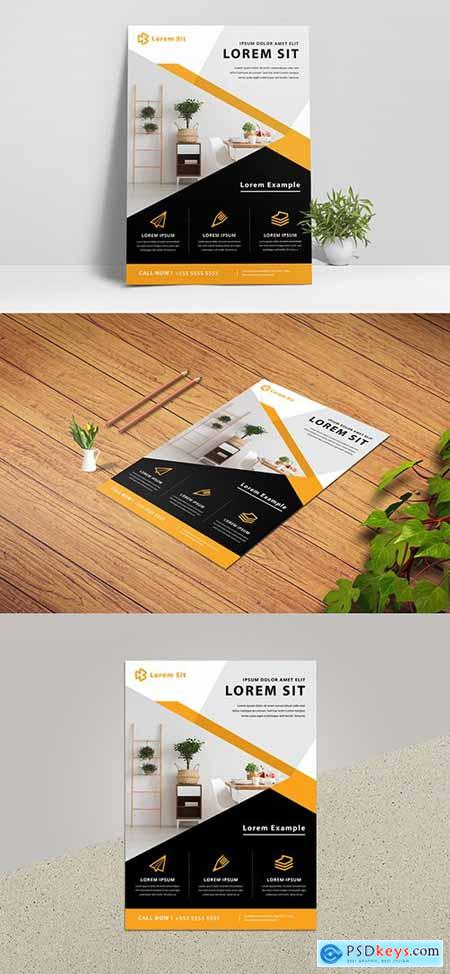 Business Flyer Layout with Orange Concept 334507009