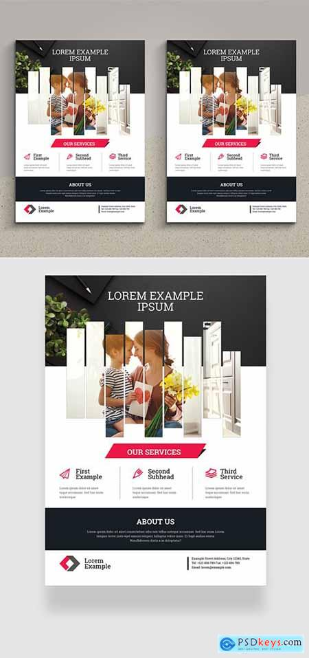 Corporate Flyer Layout with Magenta Accents 334206421