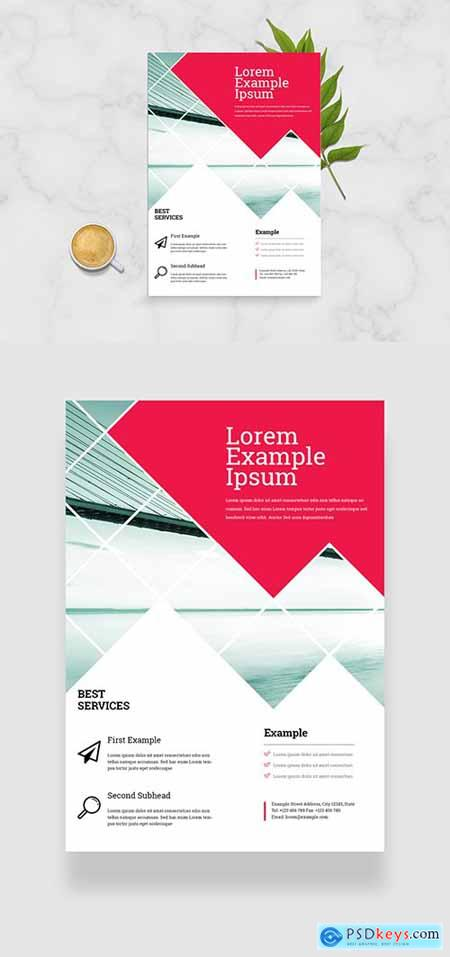 Business Flyer Layout with Red Accents 334206161