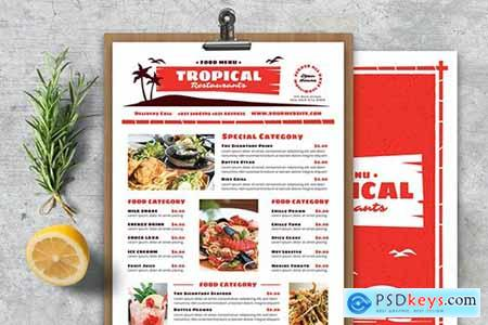 Vintage Tropical Food Menu
